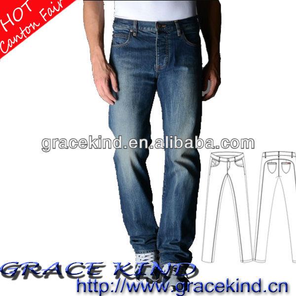 2014 últimas vaqueros pantalones vaqueros modelo de venta al por mayor de hombre pantalones vaqueros del bordado del bolsillo diseño ( GKK-079 )