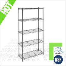 NSF & ISO Cert 5 tiers plastic coated wire shelf