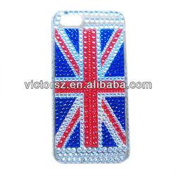 DIAMOND BLING UNION JACK UK ENGLAND BRITISH FLAG BACK CASE COVER FOR IPHONE 5