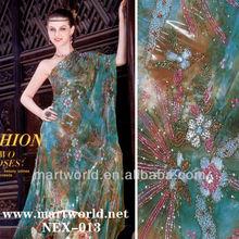 2014 blue handmade embroidered flower design beaded wedding dress (NEX-013)
