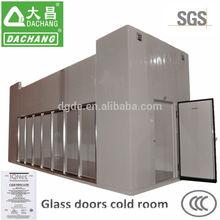 de almacenamiento en frío con sala de vidrio de la puerta y la parte posterior de la puerta con bisagras