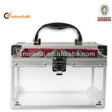 MLD-CC111 Fashional Beauty Folding Cosmetic Box Aluminum Frame Acrylic Surface Red velvet