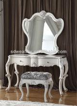 Alibaba expresar de estilo francés mueblesdeldormitorio/vestirse set de mesa con espejo/antiguo vestidor de madera mesa y una silla mg-9797