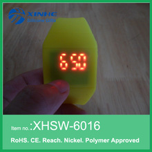 Silicone flat led touch watch for sport