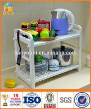 Byn 2 niveles de bricolaje de plástico de almacenamiento de la cocina estante de placa dq-1310