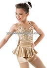 Stunning Sequin Satin Peplum Biketard Children Stage Jazz Dance Costumes