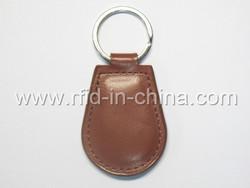 HF 13.56MHz Waterproof leather ntag203 rfid key tag