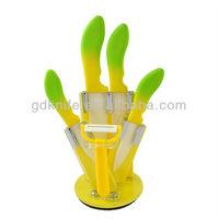 High quality new design 5pcs color TPR handle kitchen ceramic knife