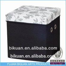 Quality unique folding microfiber storage ottoman