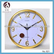 "12"" round gold clock decorative wall clock plastic wall clock wholesale OEM"