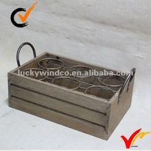 Shabby chic wooden wine basket -6 bottle
