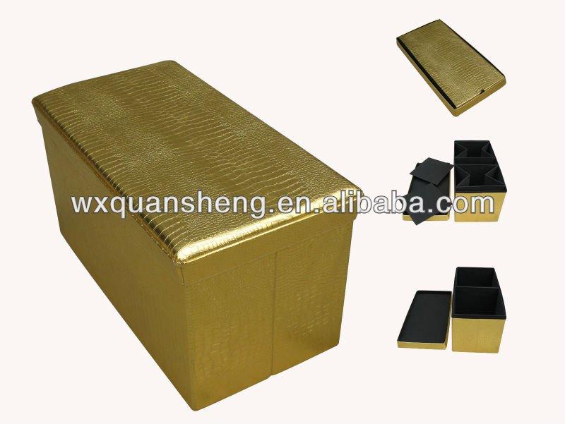 Foldable Storage Ottoman - Gold Storage Ottoman Images