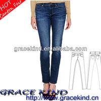 2014 Fashion Wholesale Silver Women's Jeans Brands Skinny Jean(GKK-088)