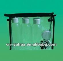 mini plastic travel sets,costomer designed sets.small empty bottle with jar