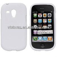 White Glossy TPU Gel Case for Samsung Galaxy S3 III Mini I8190 Skin Cover Shell