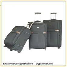 2013 3pcs soft newly design black nylon expandable leisure travel rolling trolley cases