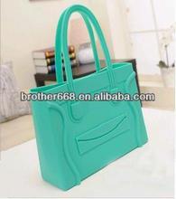 Lady fashion Silicone shoulder bag/women silicone tote handbag/hot silicone candy jelly beach handbag