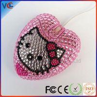 Computer accessory Wired USB Cute Beautiful Gift rhinestone heart shape mouse