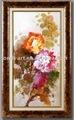 Emoldurado pintura a óleo abstrata, feitas à mão estilo chinês peônia, flor da pintura a óleo