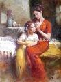 Lona retrato pintura a óleo, Pintura a óleo handmade, Mãe e menina paiting óleo
