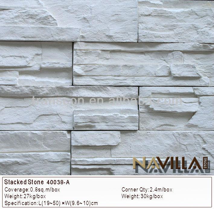 Piedra blanca chapa revestimiento de la pared 40038-A