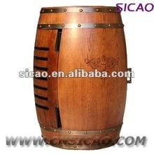 Electric wine barrel furniture, wine storage cabinet fridge, electric vintage furniture