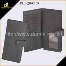 Black Leather Men Coat Long Wallet