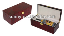2014 Luxury Cool Scotland Style Exquisite Custom High Quality Burl Pattern Wholesale Wooden Wine Box