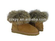 7031 Fashion women 100% real raccoon dog fur boots for winter