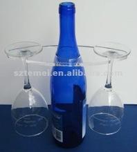 acrylic wine bottle holder with glasses rack
