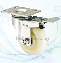 Top Plate Swivel White Double Ball Bearing Casters With Brake