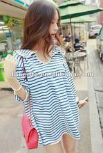 2012&2013fashion stripe shirt t-shirts for women plain cotton high qualtiy women clothes