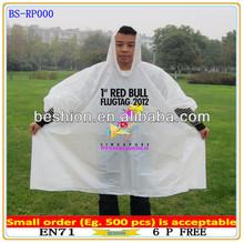 Custom pe dispoable rain poncho, printed rain poncho