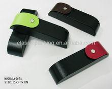 hard leather cover aluminium eyeglasses case