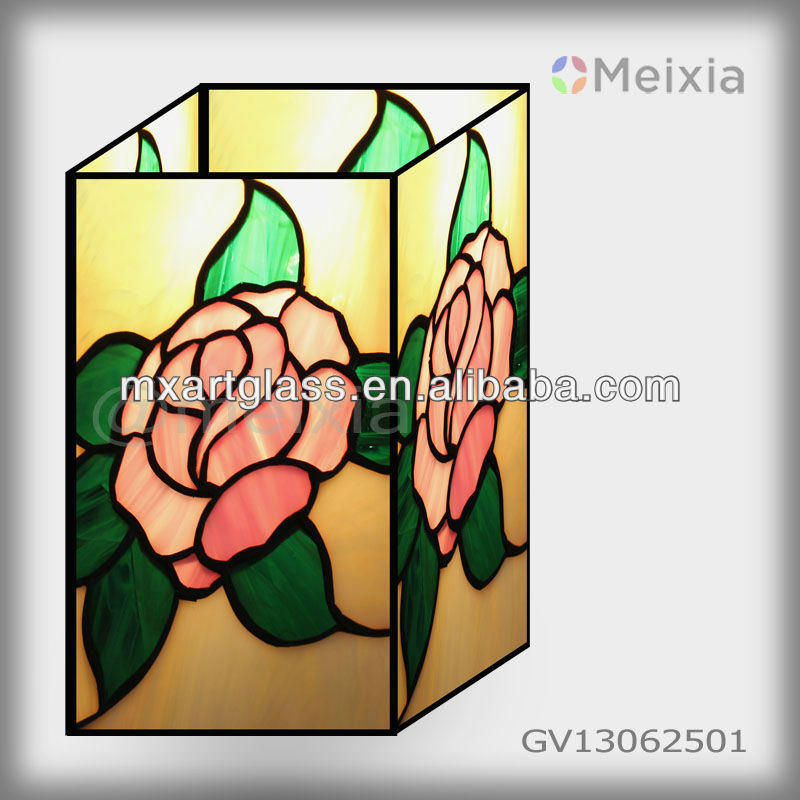 MX170036-2 wholesale china tiffany style rose stained glass vase for home decoration