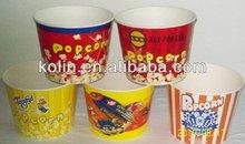 customized printing paper popcorn bucket/tub