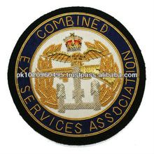 Combined Ex Servcies Association Hand Embroidery Gold Bullion Blazer Badge, crest, patch, emblem on Black Cloth