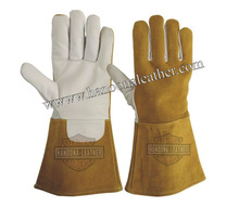 HLI Cow Split Leather Long Cuff Welding Gloves | Long Sleeve Leather Welding Gloves
