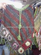 Woolen Blue Poncho Wool Blend Striped Pattern Winter Women Wear Sweater export surplus garments