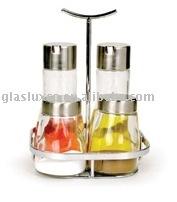 5Pcs Oil & Vinegar, Salt & Pepper Glass Condiment Jar Set w. Stainless Lid