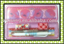 Pencil Case with pencil , eraser , ruler , ballpen platic Stationery Set