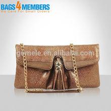 2015 best selling fancy python tassel ladies clutch bag/ women evening bag/ women clutch bag