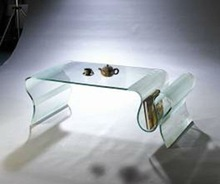 Bent glass table