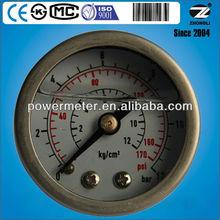 all stainless steel bourdon tube pressure gauge back type liquid filled