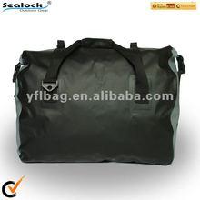 black waterproof duffel bag for motorcycling or traveling