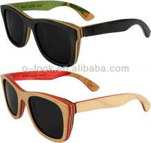 2015 new design skateboard wood sunglasses Canada maple wood sunglasses colorful wooden polarized eyewear