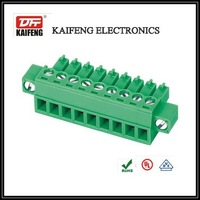 green high quality female phoenix terminal block connector with fixing flanges for pcb