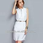 Seeveless zipper front dress lastest design ladies nice dress