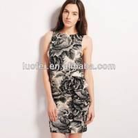 High end bodycon tight fit scalloped back fashion printing women apparel manufacturer