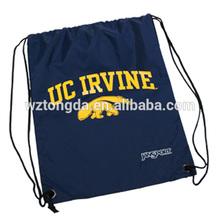 Black cheap drawstring backpack with logo printing